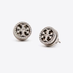 NEW Tory Burch Silver/Black Crystal Logo Earrings